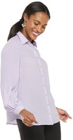 Elle Women's Pleated Sleeve Button-Down Blouse