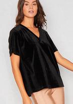 Missy Empire Honey Black V Neck Velvet T-Shirt