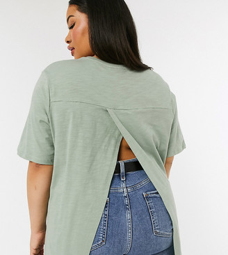 ASOS DESIGN Curve textured t-shirt with wrap back in sage