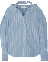 REJINA PYO - Rosa Pinstriped Cotton And Linen-blend Shirt - Sky blue