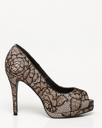 Le Château Lace & Faux Leather Peep Toe Pump
