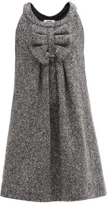 MSGM Bow Wool-tweed Mini Dress - Grey