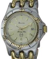 Bulova Marine Star Gold Plated & Stainless Steel Quartz 36mm Mens Watch 1990s