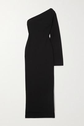 SOLACE London Callie One-sleeve Stretch-cady Maxi Dress - Black