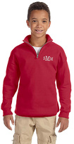 Princess Linens Red Monogram Quarter-Zip Fleece Pullover - Boys