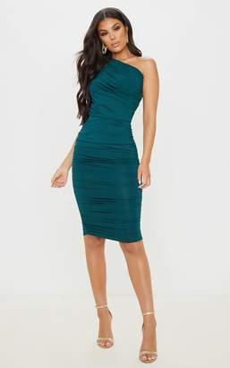 PrettyLittleThing Emerald Green Slinky Ruched One Shoulder Longline Midi Dress