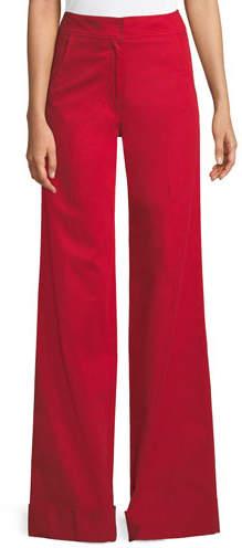 Derek Lam Flat-Front Wide-Leg Cuff Stretch-Cotton Trousers