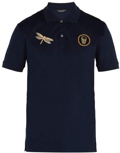 Alexander McQueen Embroidered Cotton Pique Polo Shirt - Mens - Navy Multi