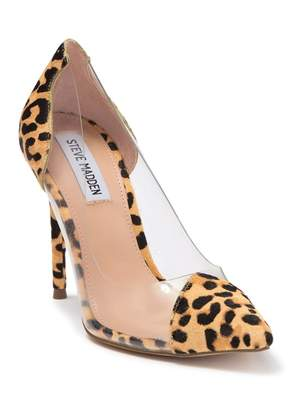 Steve Madden Malibu-L Leopard Haircalf Clear Pumps