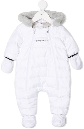 Givenchy Kids Hooded Logo Down Puffer Romper