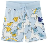 Mini Rodini Light Blue Unicorn Sweat Shorts