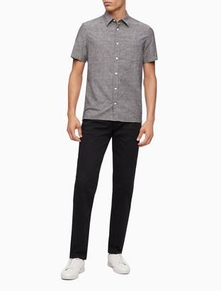 Calvin Klein Slim Fit Chambray Short Sleeve Shirt