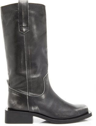 Ganni Exclusive Distressed Leather Motorcycle Boots