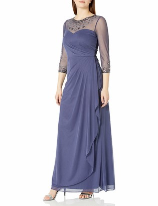 Alex Evenings Women's Long A-Line Sweetheart Neck Dress (Petite and Regular Sizes)
