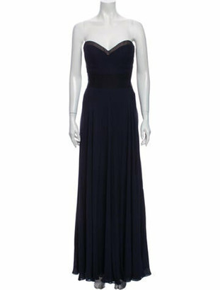 J. Mendel Silk Long Dress Blue