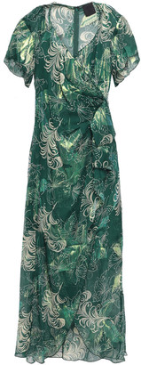 Anna Sui Wrap-effect Metallic Fil Coupe Silk-blend Midi Dress