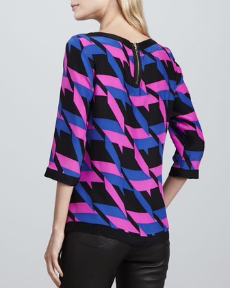 Alice & Trixie Maeve Houndstooth-Print Blouse