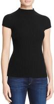 Aqua Cashmere Ribbed Mock Neck Cashmere Sweater
