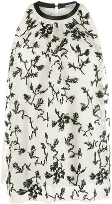 Brunello Cucinelli Floral Embroidered Sleeveless Blouse