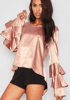 Missy Empire Blair Rose Gold Ruffle Long Sleeved Satin Blouse