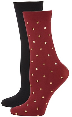 DKNY 2-Pack Star-Print Trouser Socks