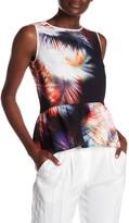 Sandro Sleeveless Feather Print Silk Trim Blouse