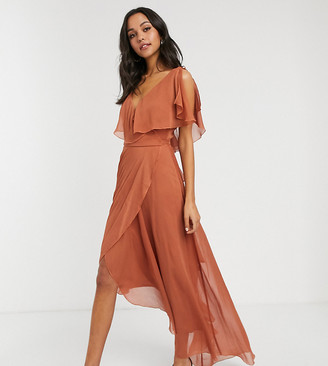 Asos Tall DESIGN Tall maxi split sleeve cape back with tie shoulder-Copper