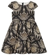David Charles Black and Gold Baroque Dress