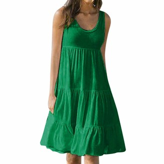 veyikdg Women's Summer Solid O-Neck Dress Bohemian Sleeveless Loose Mini Dresses Casual Party Beach Knee-Length Sundress Green