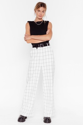 Nasty Gal Womens Why Grid You Do That Wide-Leg Pants - White