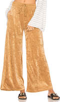 Free People Velour Wide Leg Pant in Tan