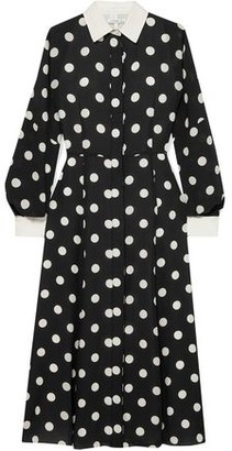 Andrew Gn Polka-dot Silk-georgette Midi Shirt Dress