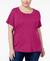 Karen Scott Plus Size Buckle-Trim Scoop-Neck Top, Only at Macy's