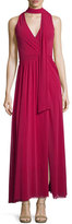 Fuzzi Sleeveless Maxi Dress W/Neck Tie