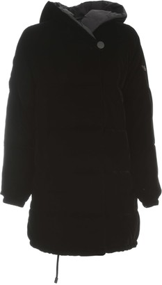 Emporio Armani Velvet Double Breasted Padded Jacket W/hood