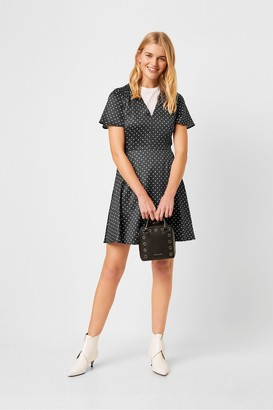 French Connection Maudie Drape Polka Dot Flippy Dress