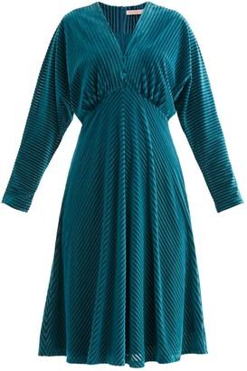 Paisie London Striped Velvet Dress In Turquoise