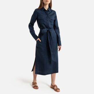 La Redoute Collections Linen Midi Shirt Dress with Tie-Waist