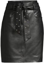 Escada Sport Studded Tie Leather Pencil Skirt