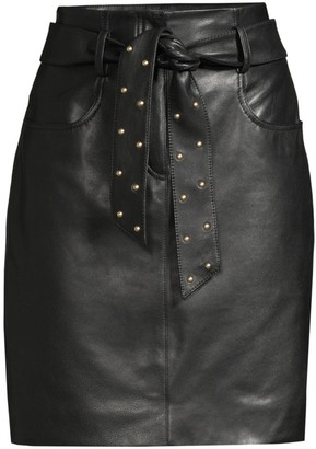 Escada Sport Studded Tie Leather Pencil Skirt