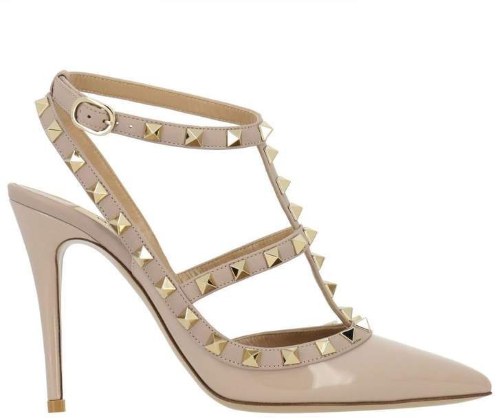 Valentino Pumps Rockstud Ankle Strap In Smooth Leather And Patent Leather With Metal Studs