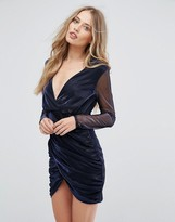 Club L London Wrap Over Metallic Dress