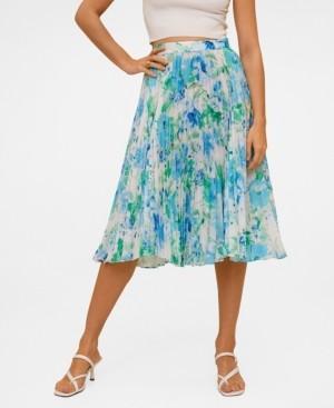 MANGO Women's Pleated Floral Skirt