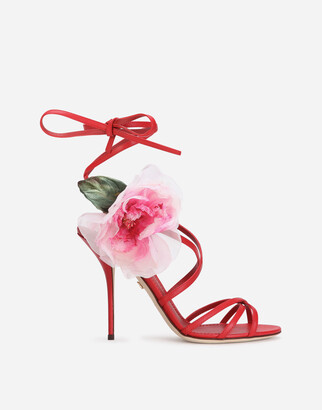 Dolce & Gabbana Nappa Leather Sandals With Silk Flower