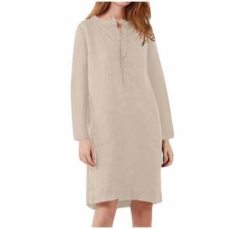 kolila Women Dress Cotton and Linen Shirt Dress Casual Loose Long Sleeve V-Neck Plus Size Kaftan Dress Cover Up Mini Dress (Beige XL)