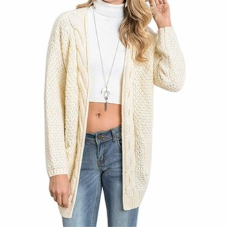 HOLEVSTY Long Cardigan Women Long Sleeve Knitted Sweater Cardigan Autumn Winter Lady Winter Sweaters Jersey Cream M