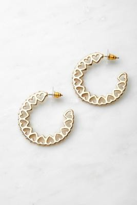 Urban Outfitters Gold-Tone Heart Motif Hoop Earrings - Gold ALL at