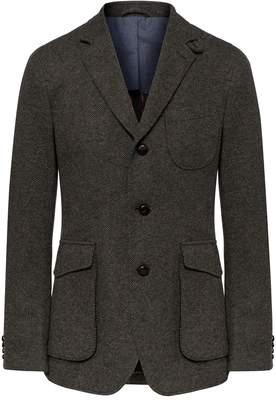 Hackett Herringbone Knit Wool Blend Blazer