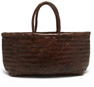 DRAGON DIFFUSION Triple Jump Large Woven-leather Basket Bag - Dark Brown