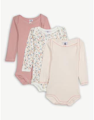 Petit Bateau Frilled cotton bodysuits set of three 3-36 months